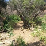 Upended pipe in Serrano Canyon