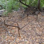 Bed frame at cabin site in Bear Canyon