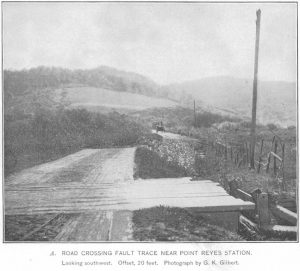 Road near Pt. Reyes Station offset by 20 feet by the 1906 San Francisco Earthquake. Historic photograph by G.K. Gilbert.